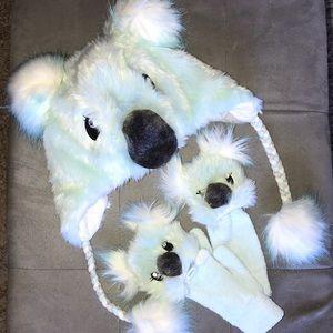 Justice fuzzy Koala hat beani & gloves set